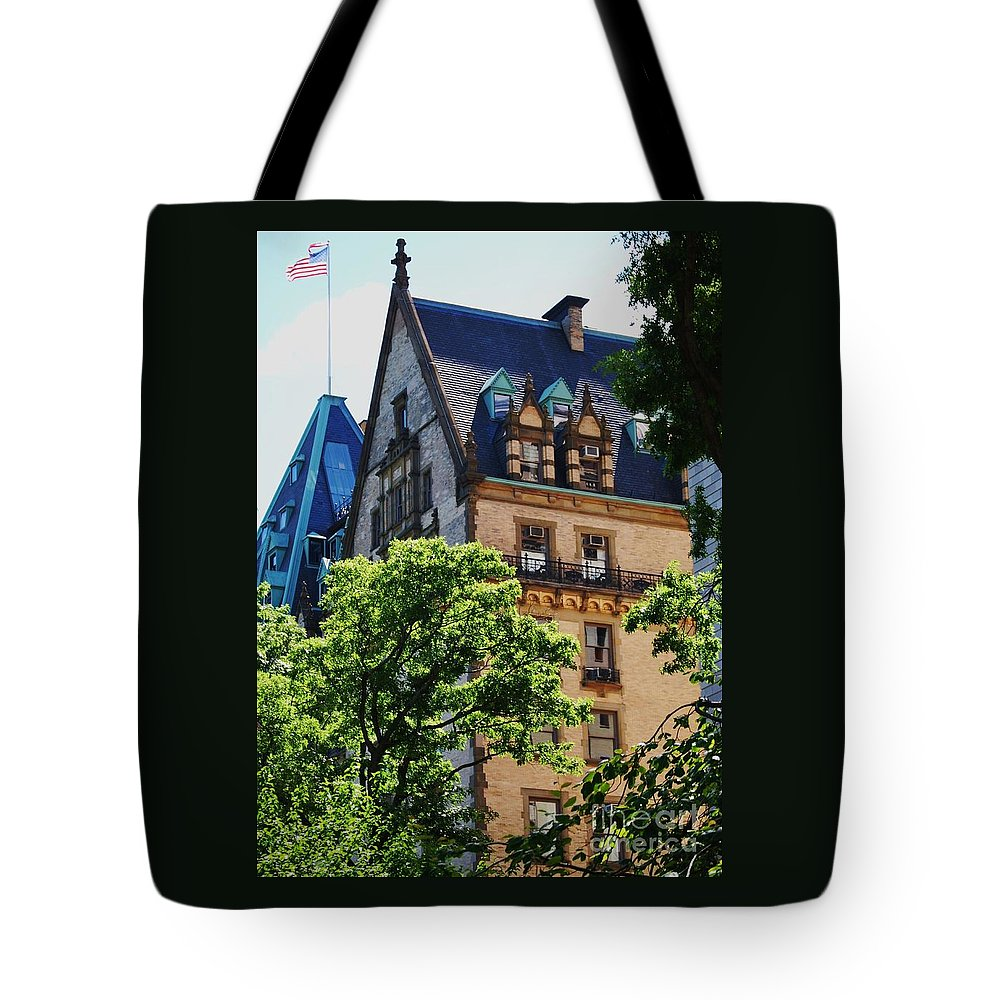 New York Art Iconic Building Dakota Landmark Architectural Legendary Home Gothic Old Glory Outdoors Street Scene Windows Vertical Spring Roofs Wood Print Canvas Print Metal Frame Poster Print Available On Phone Cases T Shirts Spiral Notebooks Mugs Tote Bags And Shower Curtains Tote Bag featuring the photograph The Dakota, New York City by Marcus Dagan