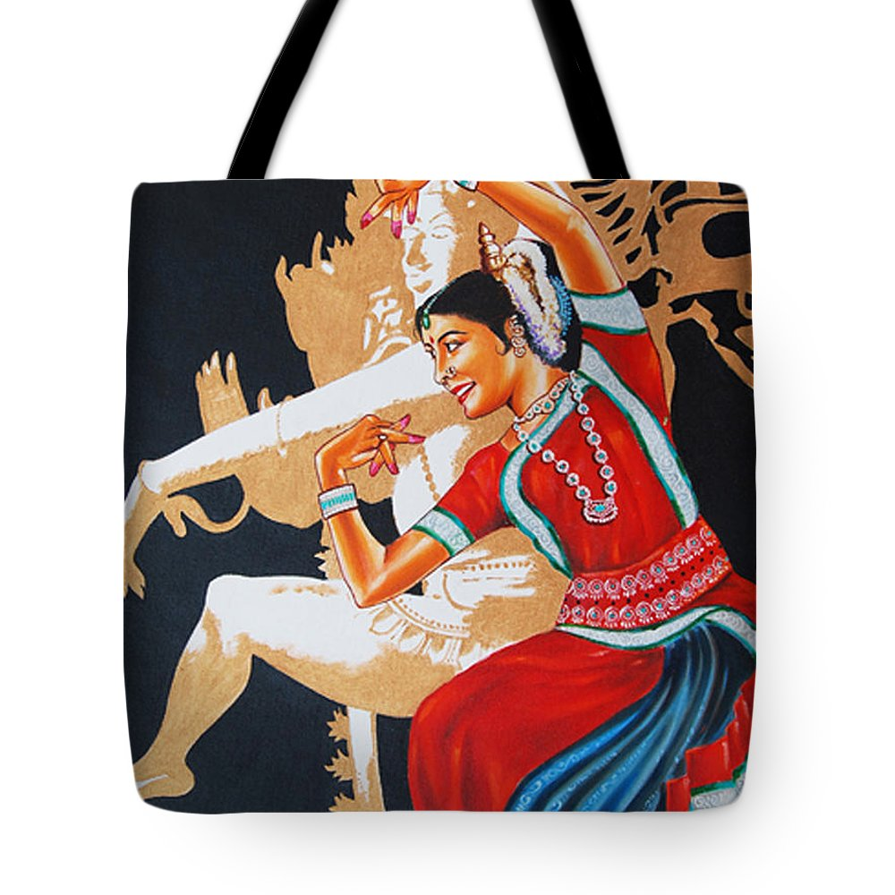Odissi- India Tote Bag featuring the painting The Dance Divine Of Odissi by Ragunath Venkatraman