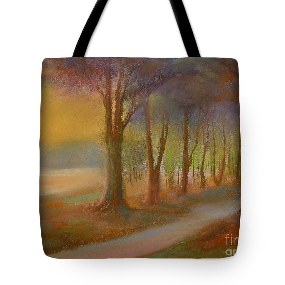 Landscape Tote Bag featuring the painting The Day Will End by Pusita Gibbs
