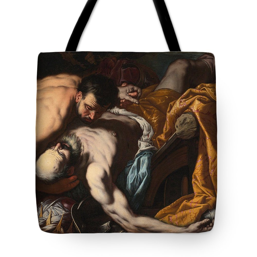 Antonio Zanchi Tote Bag featuring the painting The Death Of King Josiah by Antonio Zanchi