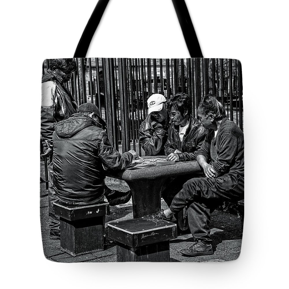 Men Tote Bag featuring the photograph The Decisive Move by Madeline Ellis