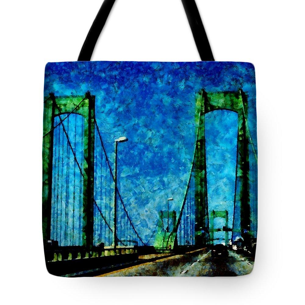Delaware Memorial Bridge Tote Bag featuring the photograph The Delaware Memorial Bridge by Angelina Tamez