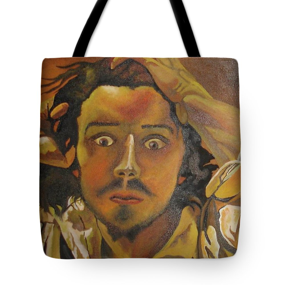 Anguish Tote Bag featuring the painting The Desperate Man by Taiche Acrylic Art