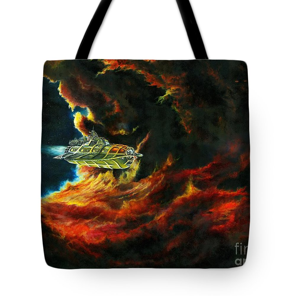 Devil Tote Bag featuring the painting The Devil's Lair by Murphy Elliott