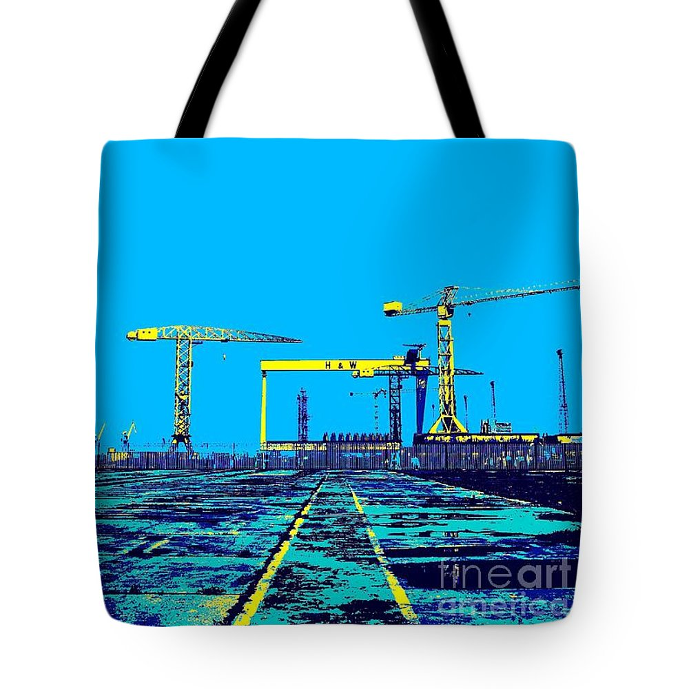 Belfast Tote Bag featuring the photograph The Docks by Maria Mitchell