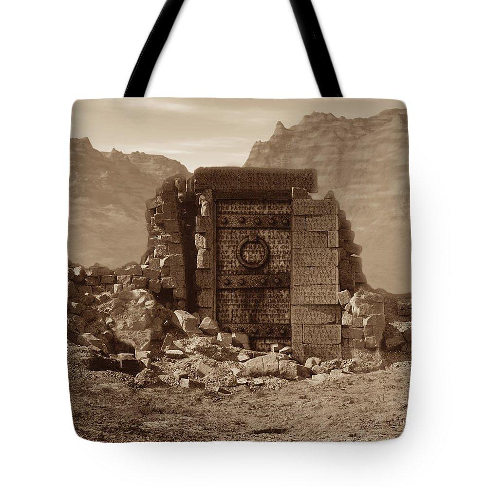 Usherwood Tote Bag featuring the digital art The Door Of Infinite Portals by James Kramer