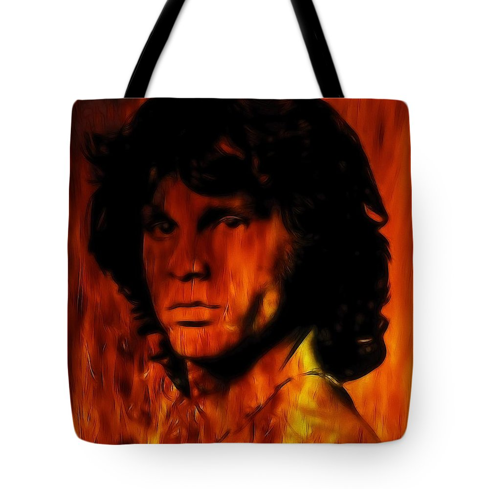 Tote Bag featuring the painting The Doors Light My Fire by Steve K