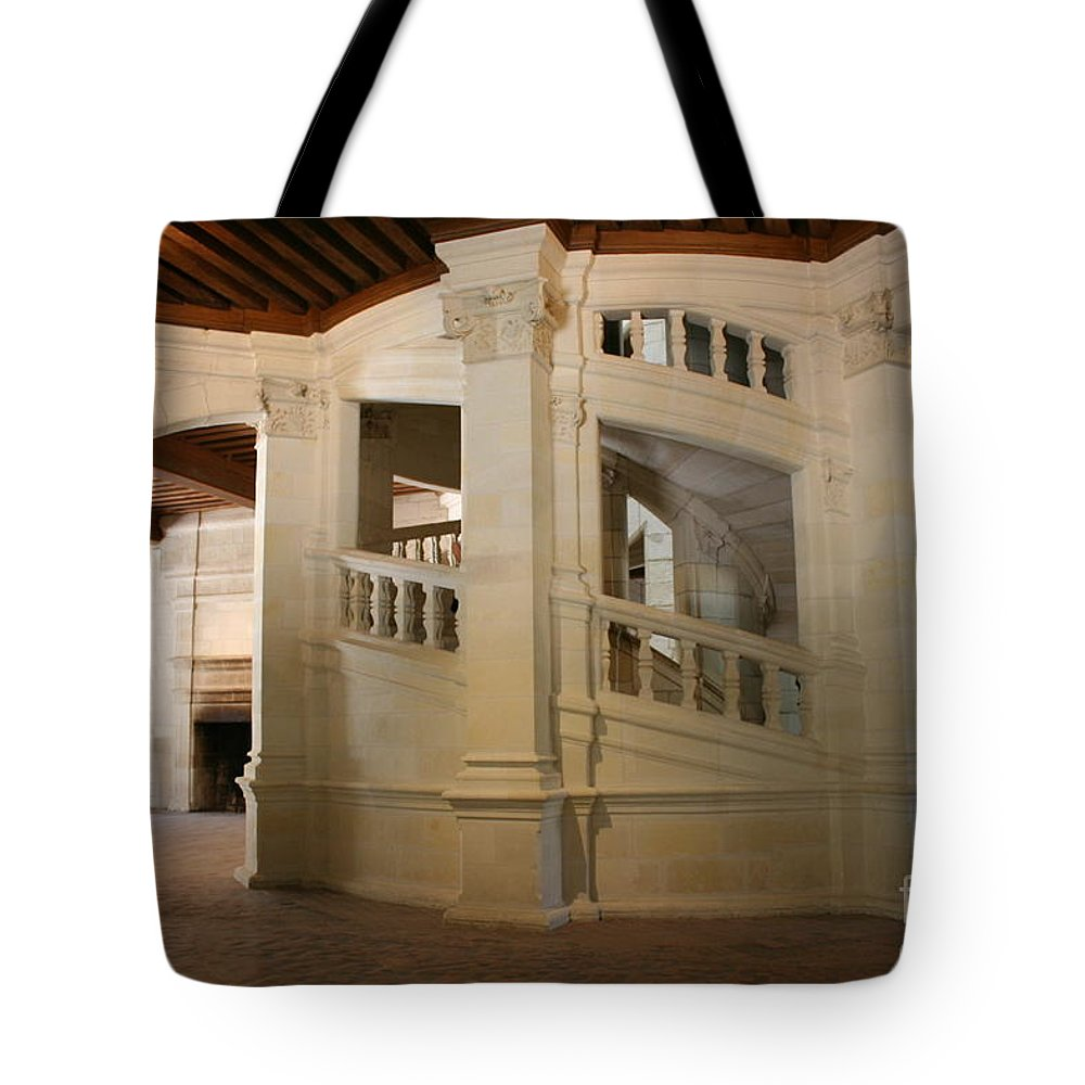 Staircase Tote Bag featuring the photograph The Double-helix Staircase Chateau Chambord - France by Christiane Schulze Art And Photography