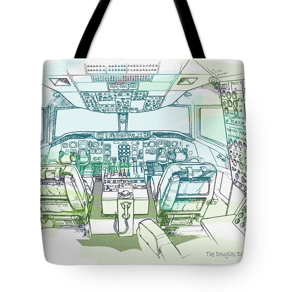 Decorative Tote Bag featuring the digital art The Douglas Dc-10 Flightdeck by Don Kuing