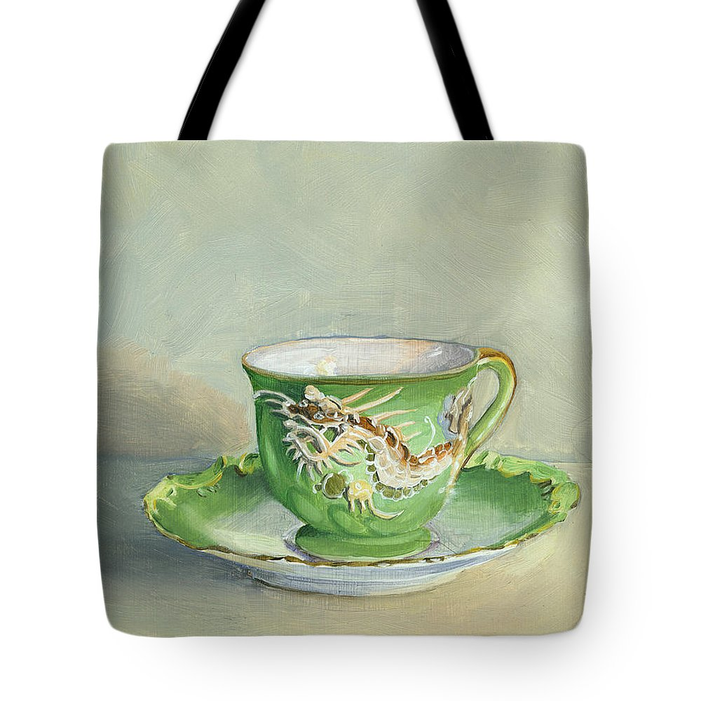 Teacup Tote Bag featuring the painting The Dragon Teacup by Marguerite Chadwick-Juner