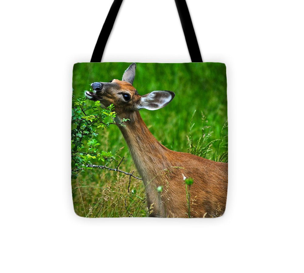 Deer Tote Bag featuring the photograph The Dreaded Deer Giraffe by Frozen in Time Fine Art Photography