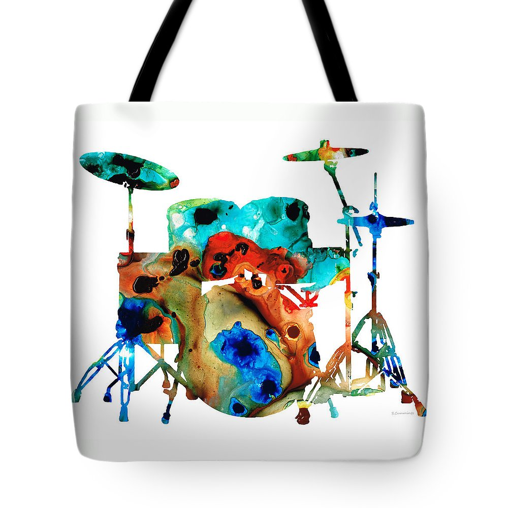 Drum Tote Bag featuring the painting The Drums - Music Art By Sharon Cummings by Sharon Cummings