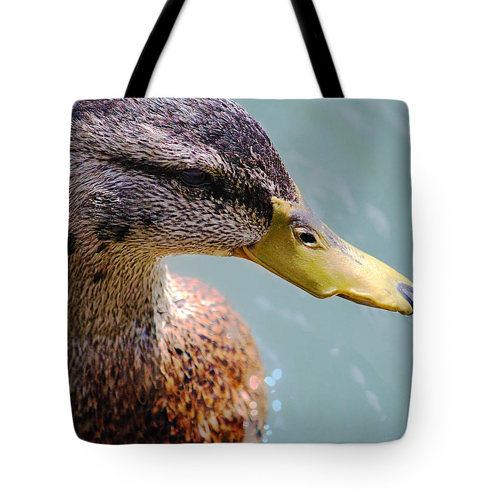Animal Tote Bag featuring the photograph The Duck by Milena Ilieva