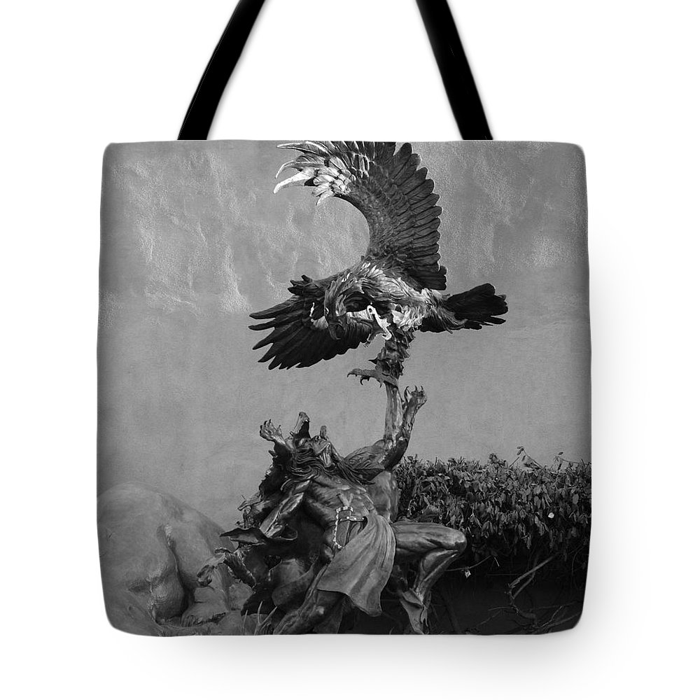 Eagle Tote Bag featuring the photograph The Eagle And The Indian In Black And White by Rob Hans