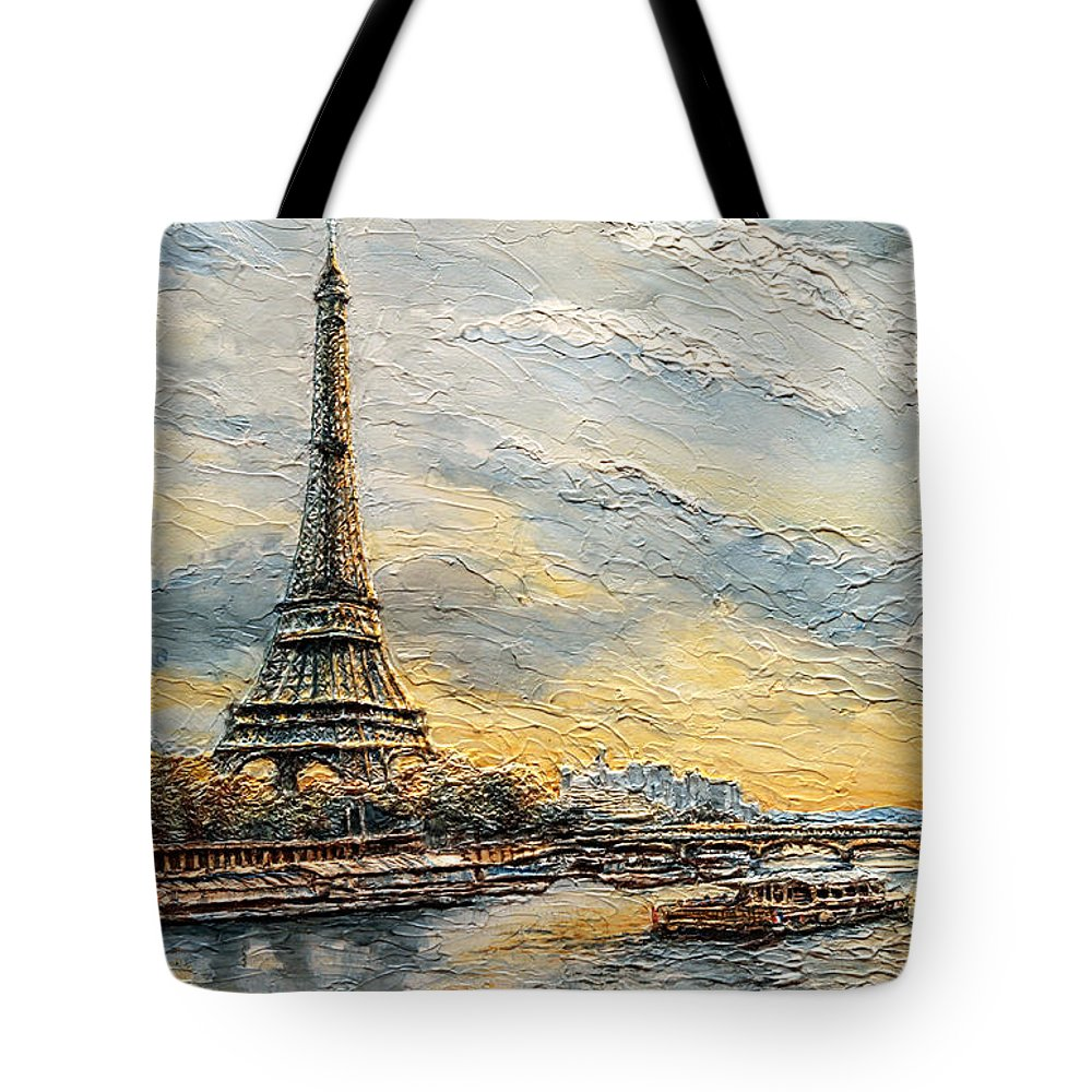 Eiffel Tote Bag featuring the painting The Eiffel Tower- From The River Seine by Joey Agbayani