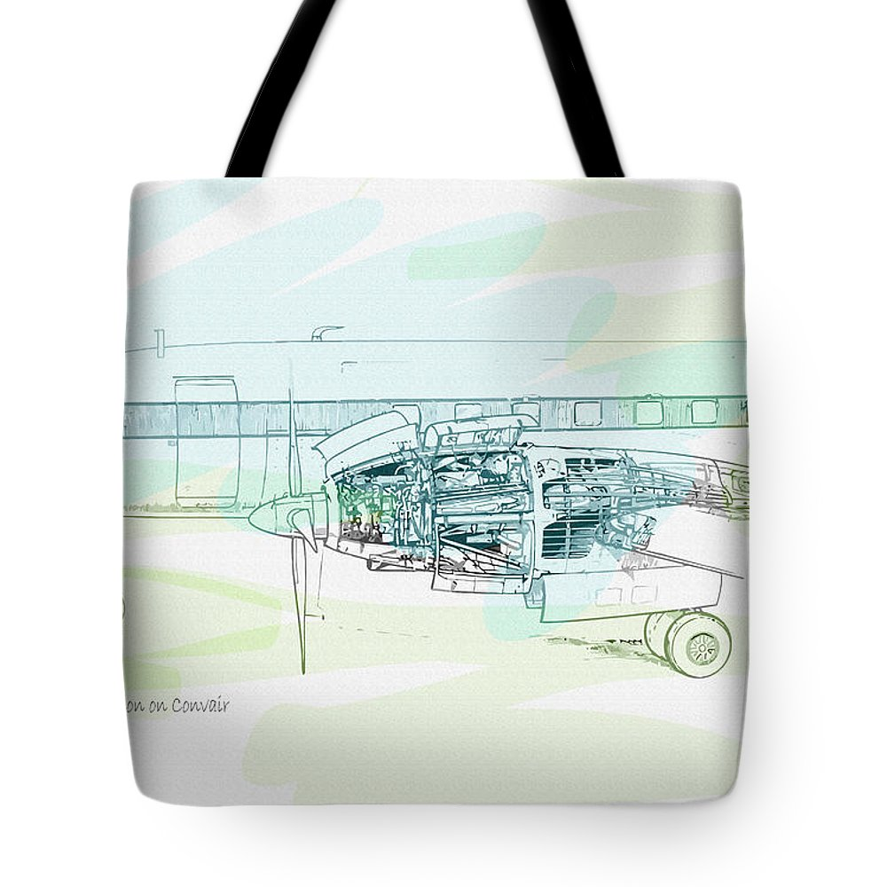 Decorative Tote Bag featuring the digital art The Eland Installation On Convair Detail by Don Kuing