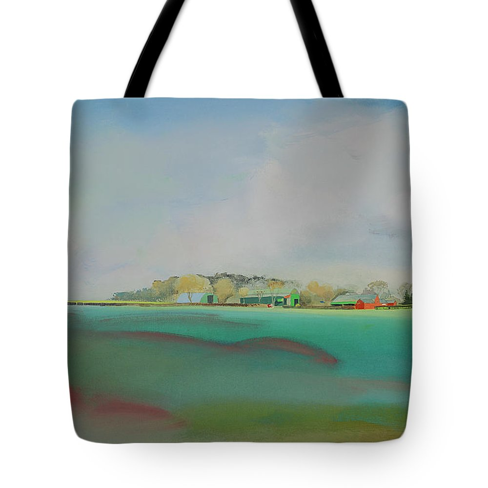 Landscape Tote Bag featuring the painting The English Farm  A Break In The Cloud by Charles Stuart