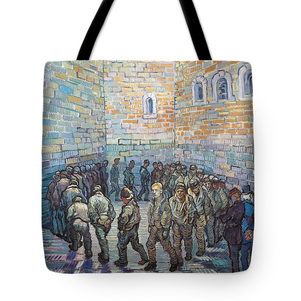 Prisoner Tote Bag featuring the painting The Exercise Yard by Vincent Van Gogh