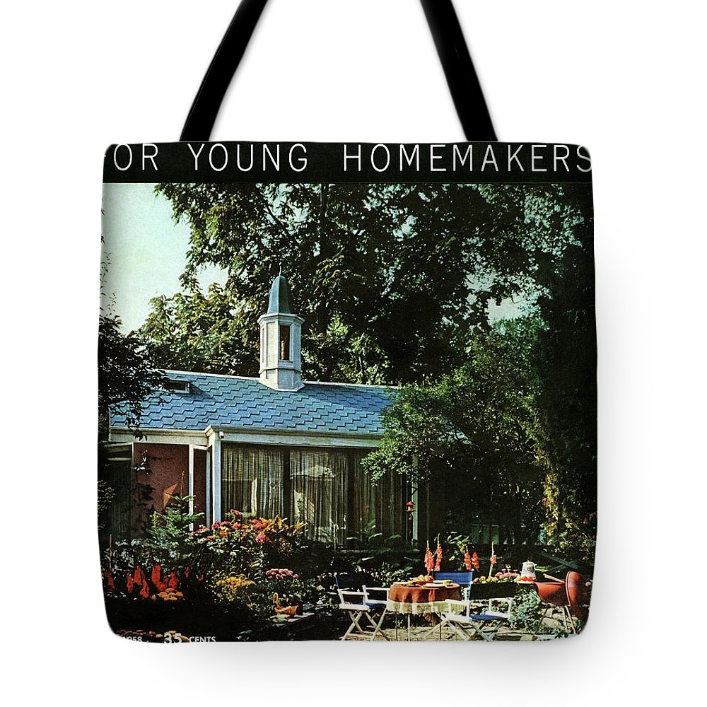 Furniture Tote Bag featuring the digital art The Exterior Of A House And Patio Furniture by Nowell Ward