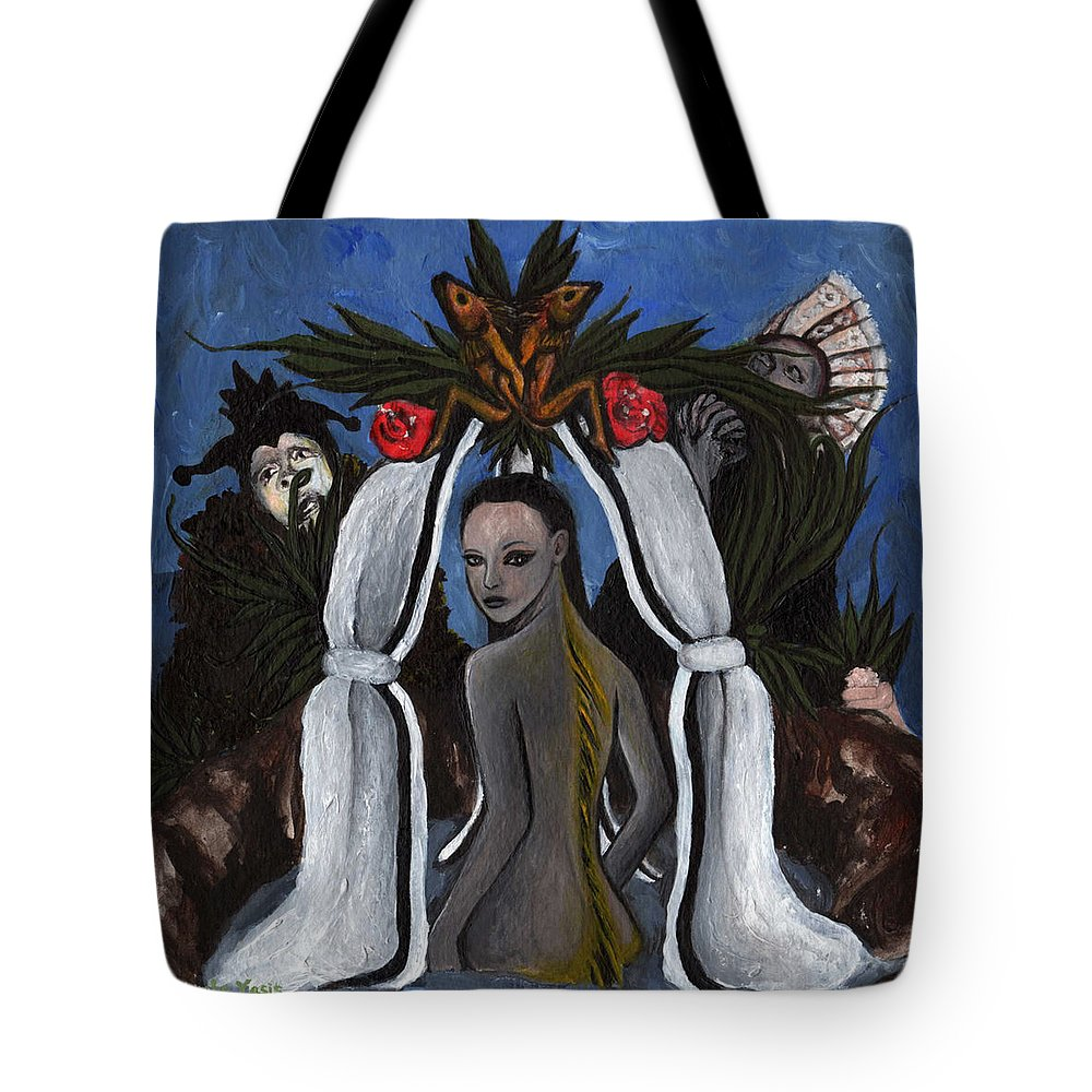 Mermaid Tote Bag featuring the painting The Fable Of The Fish by Ayka Yasis