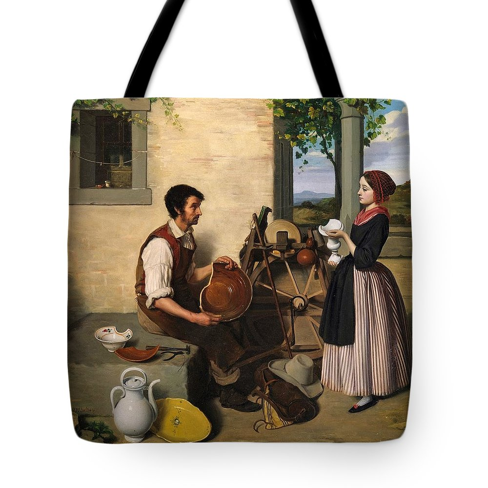 Paul-narcisse Salieres Tote Bag featuring the painting The Faience Restorer by Celestial Images
