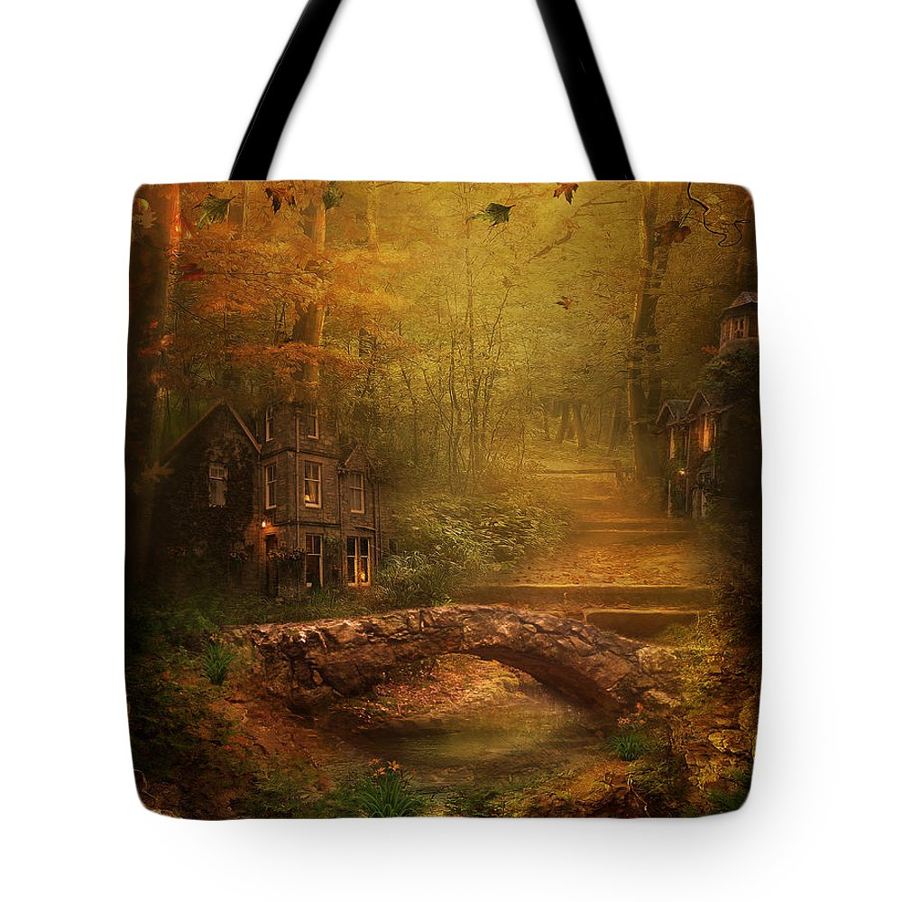 Fairy Tote Bag featuring the digital art The Fairy Forest In The Fall by Lynn Jackson