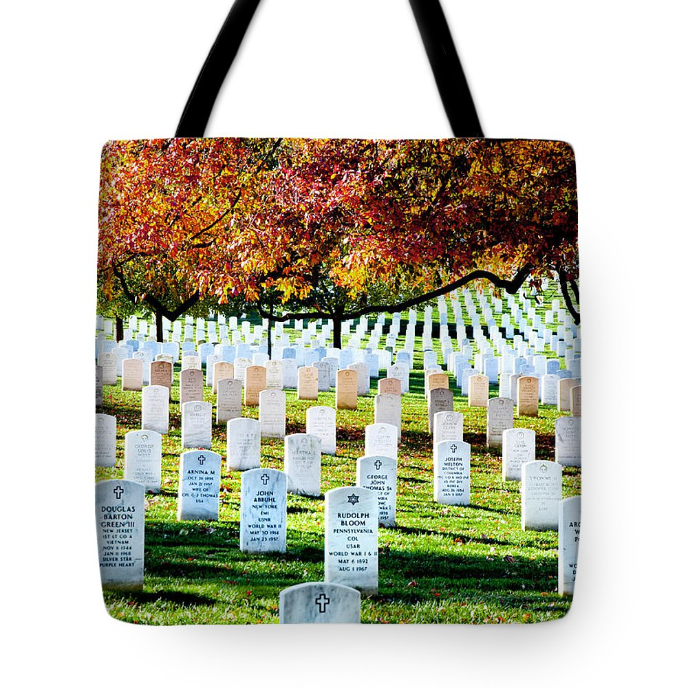 Arlington Cemetery Tote Bag featuring the photograph The Fall by Greg Fortier