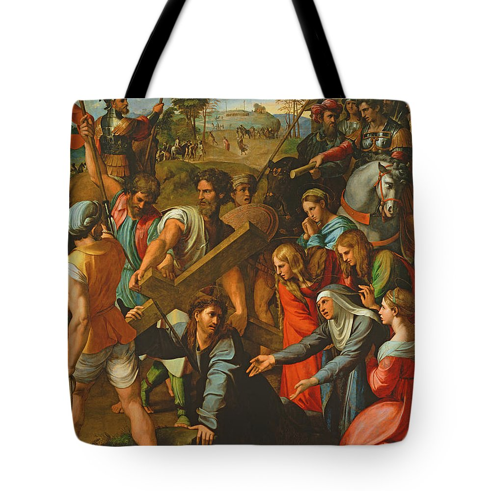 Cross Tote Bag featuring the photograph The Fall On The Road To Calvary, 1517 Oil On Canvas by Raphael