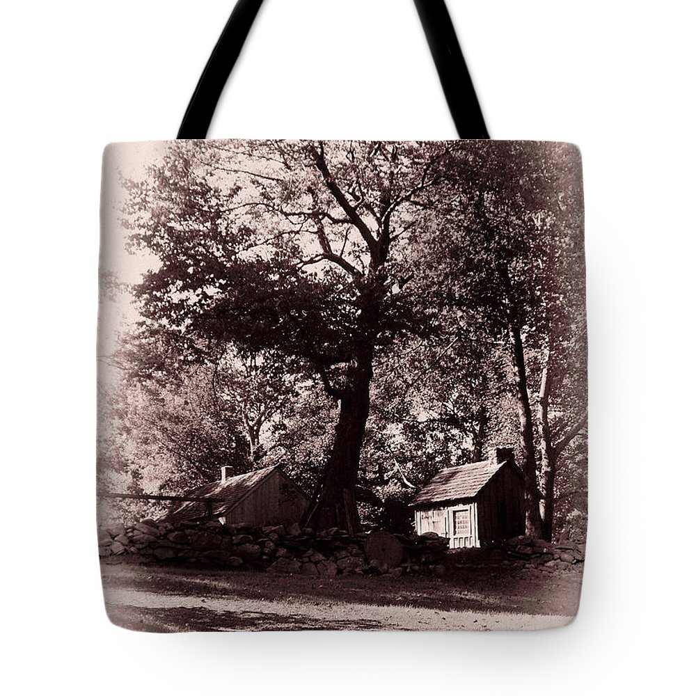 Black And White Tote Bag featuring the photograph The Farm Bristol Rhode Island by Tom Prendergast