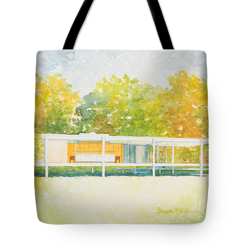 Architecture Tote Bag featuring the painting The Farnsworth House by Sandra Neumann Wilderman