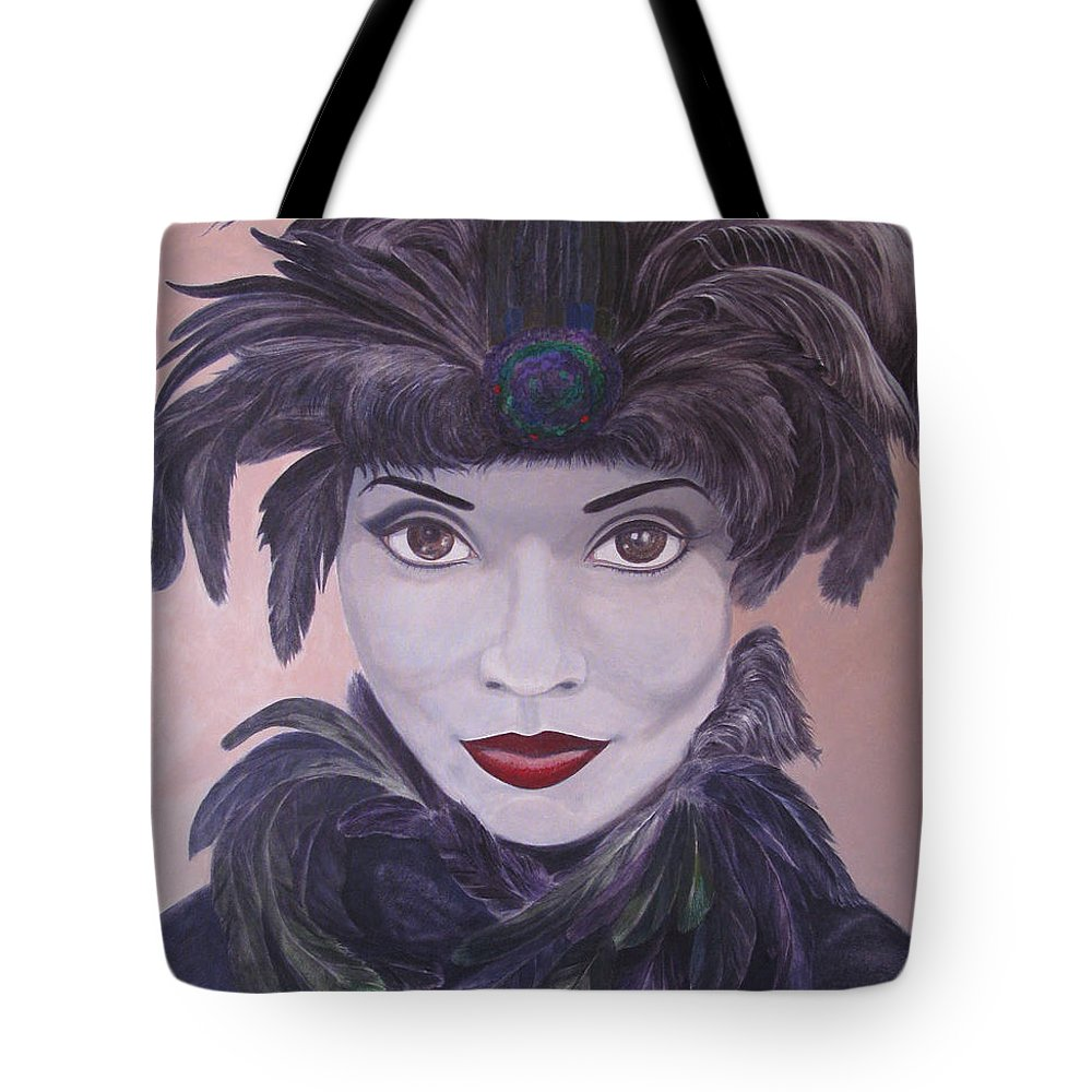 Leonard Filgate Tote Bag featuring the painting The Feathered Lady by Leonard Filgate