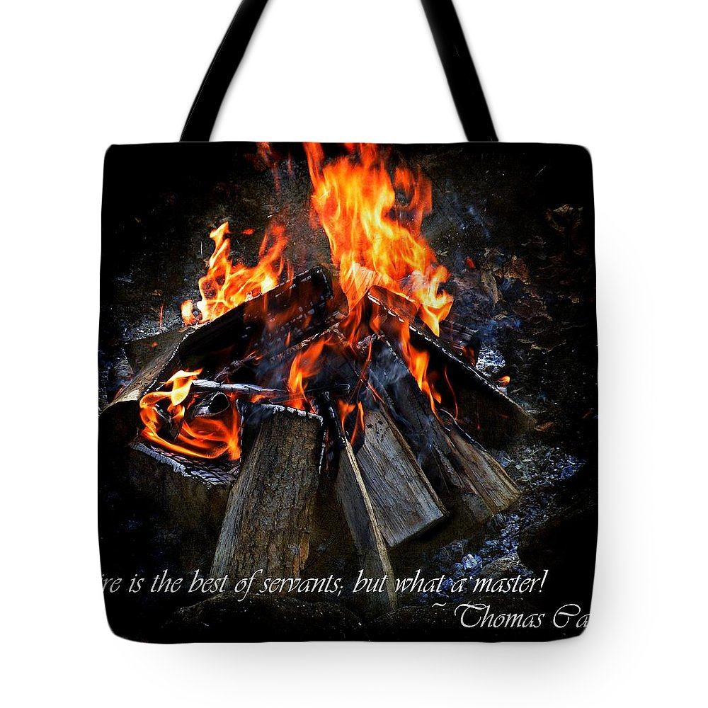 Fire Tote Bag featuring the photograph The Fire by Davandra Cribbie