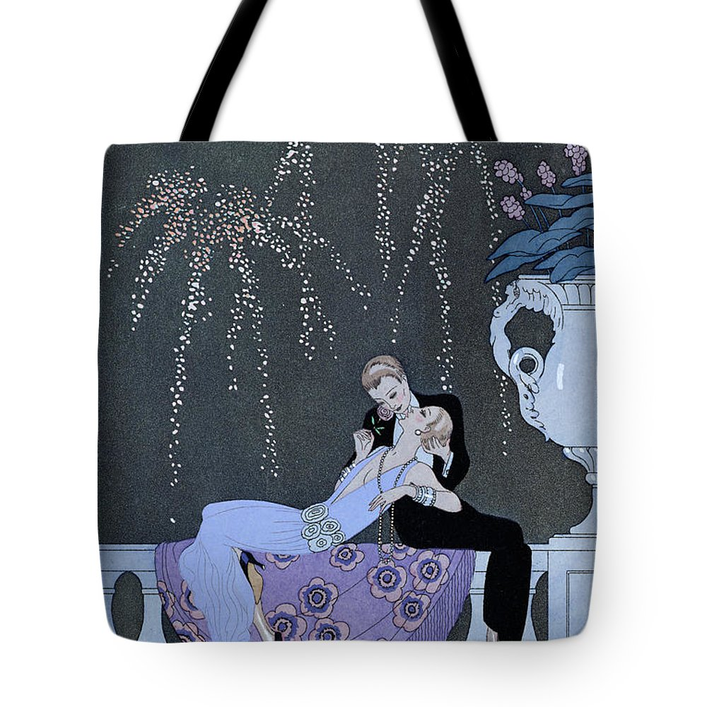 Le Feu Tote Bag featuring the painting The Fire by Georges Barbier