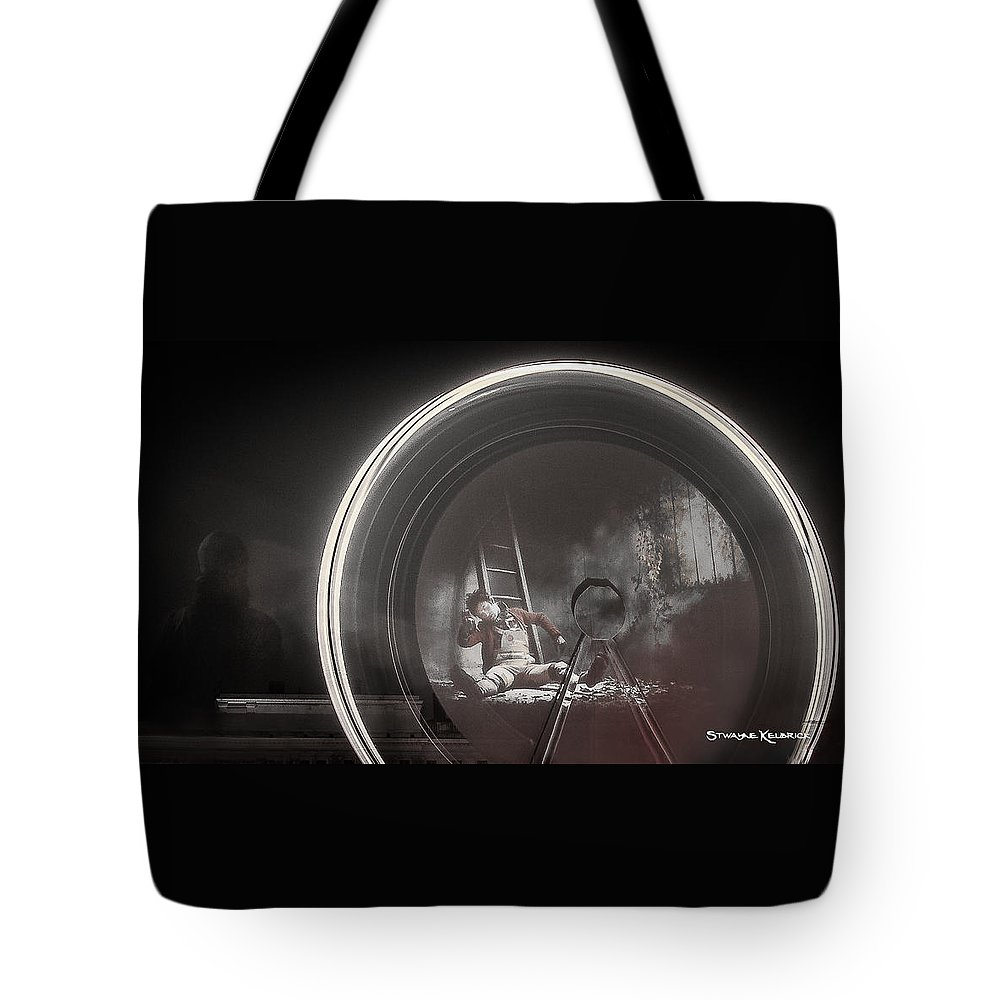 Fine Art America Tote Bag featuring the photograph The Fire Wheel Ghost Man by Stwayne Keubrick