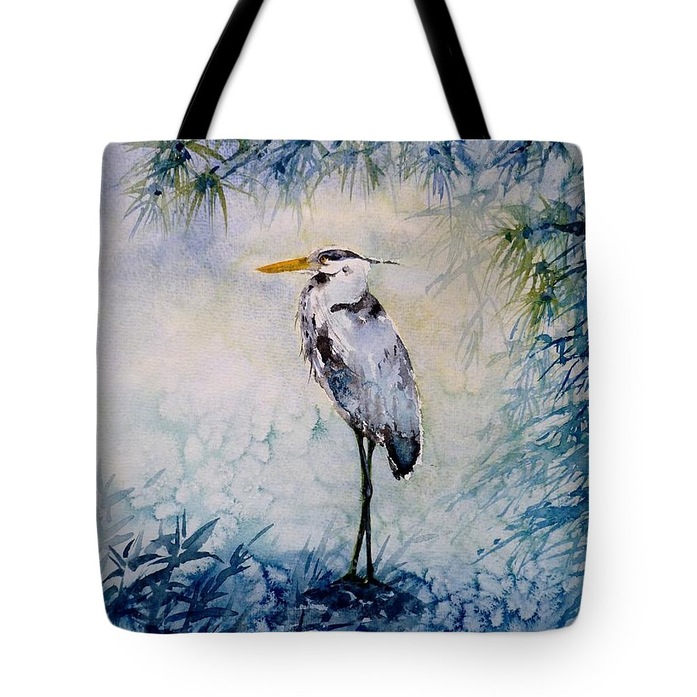Heron Tote Bag featuring the painting The First Frost by Zaira Dzhaubaeva