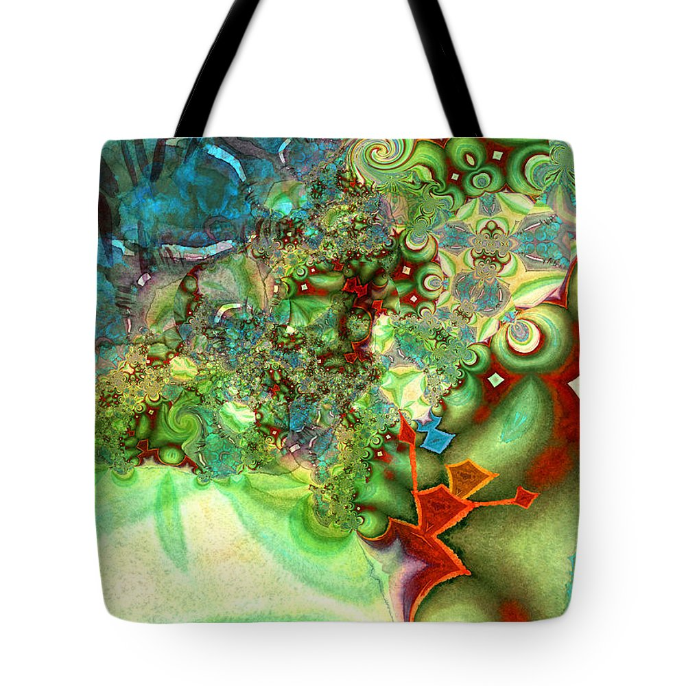 Fractal Tote Bag featuring the painting The First Man by Miki De Goodaboom