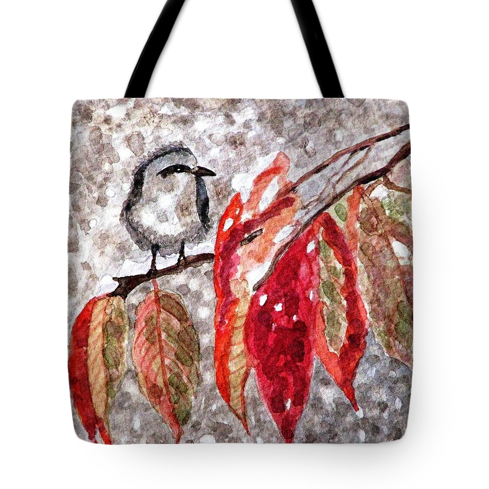 Snow Tote Bag featuring the painting The First Snow by Angela Davies