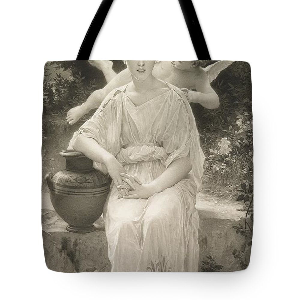 Female; Seated; Love; Cupid; Whisper; Whispering; Flying; Cherub; Vase; Amphora; Outdoors; Beauty; Monochrome; 19th; 20th Tote Bag featuring the drawing The First Whisper Of Love After Bouguereau by John Douglas Miller