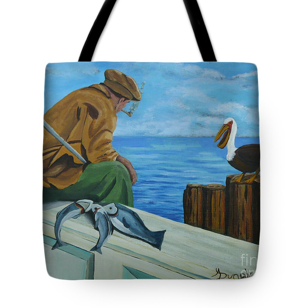 Seascape Tote Bag featuring the painting The Fishing Buddies by Anthony Dunphy