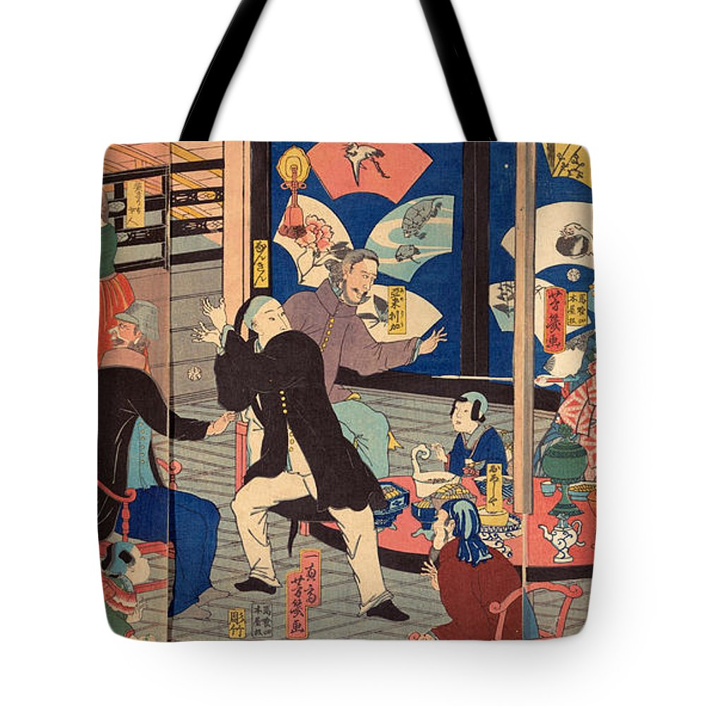 Utagawa Yoshiiku Tote Bag featuring the painting The Five Nations Enjoying A Drunken Revel At The Gankiro Tea House by Utagawa Yoshiiku