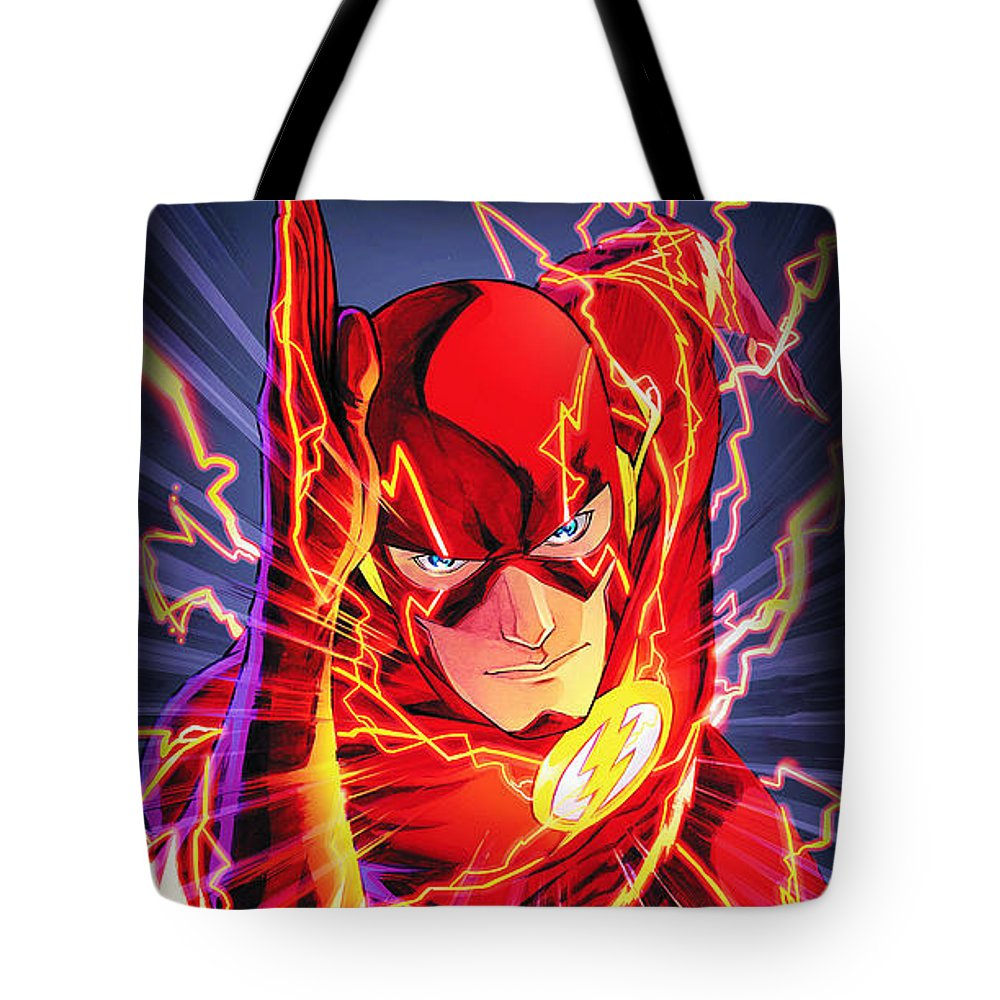 The Flash Tote Bag featuring the drawing The Flash by FHT Designs