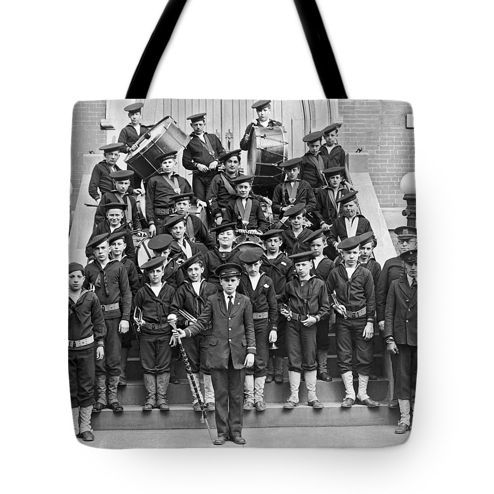 10-15 Years Tote Bag featuring the photograph The Flatbush Boys' Club Band by Underwood Archives