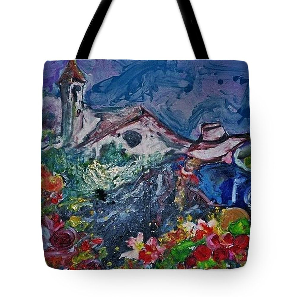 Acrylic Tote Bag featuring the painting The Flower Peddler by Mark Szwabo