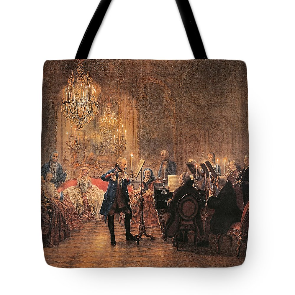 Flute; Concert; Music; Musical; Evening; Performance; Musician; Musicians; Instrument; Instruments; Flutes; Flautist; Piano; Pianist; Violin; Violins; Violinist; Cello; Cellist; Strings; Interior; Grand; Grandiose; Private; Intimate; Candlelit; Candlelight; Candles; Chandelier; Chandeliers; Audience; Seated; Standing; Traditional; Dress; Costume; Music Tote Bag featuring the painting The Flute Concert by Adolph Friedrich Erdmann von Menzel