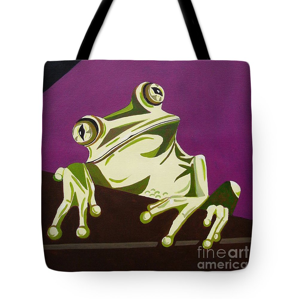 Frog Tote Bag featuring the painting The Fly Catcher by Suzette Broad