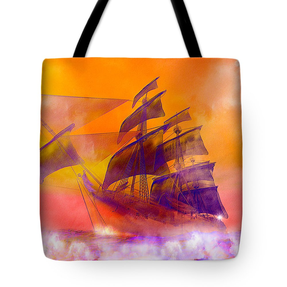 Doomed Tote Bag featuring the digital art The Flying Dutchman Ghost Ship by Carol and Mike Werner