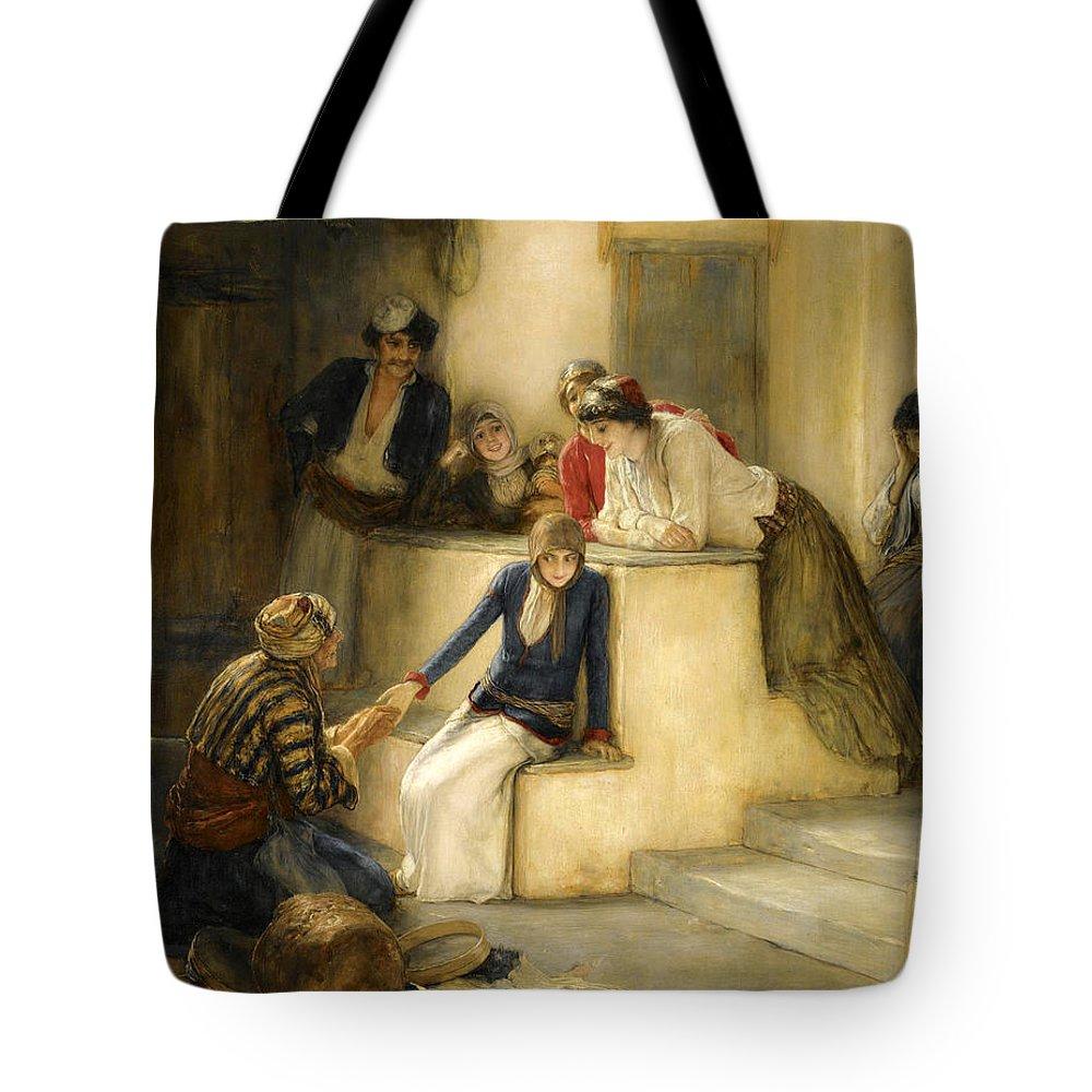 Nikolaos Gyzis Tote Bag featuring the painting The Fortune Teller by Nikolaos Gyzis