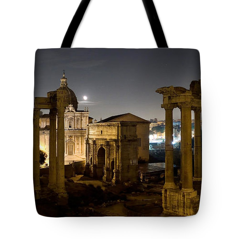 Forum Tote Bag featuring the photograph The Forum Temples At Night by Weston Westmoreland