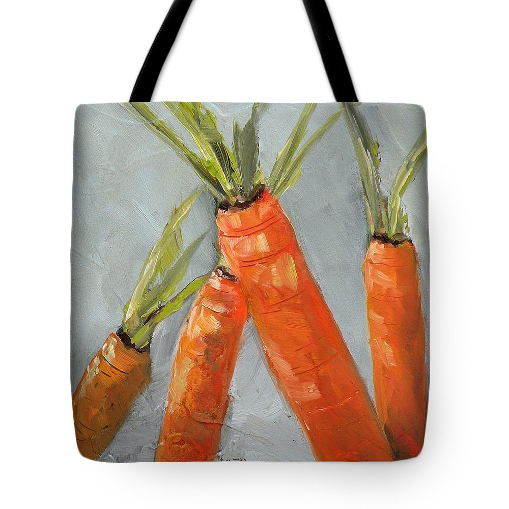 Carrots Tote Bag featuring the painting The Four Tops by Saundra Lane Galloway
