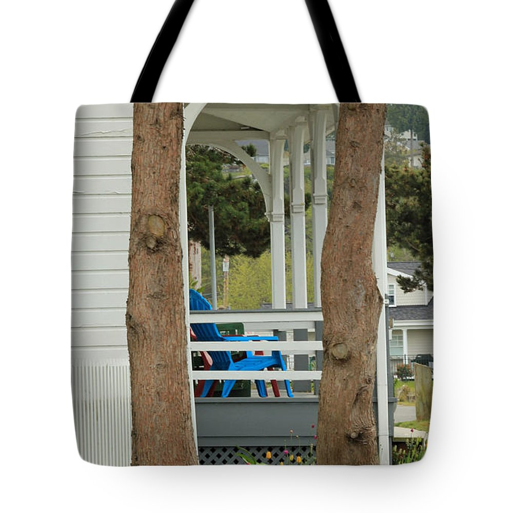 Point No Point Lighthouse Tote Bag featuring the photograph The Front Porch by E Faithe Lester